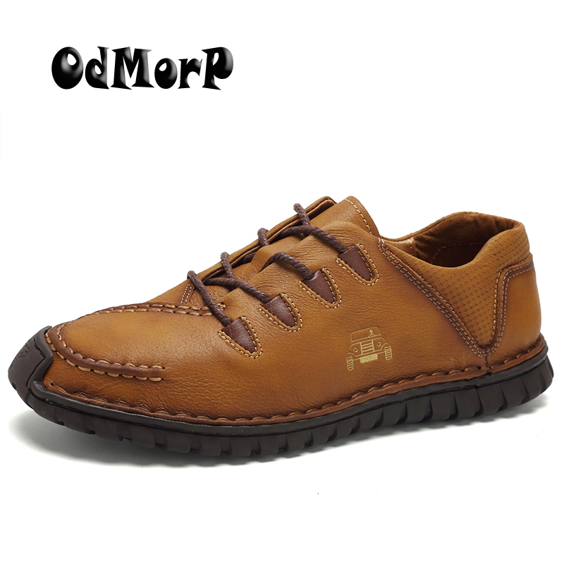 ODMORP Men Leather Shoes Brown Casual Shoes Handmade High Quality Lace Up Footwear Fashion Design Comfort Mens Shoes<br>