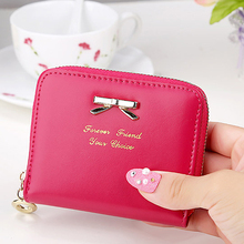 Women Zipper Leather Purse Wallet Money Card Holder Coin Bag Coin Purses Ladies Girls Bow Knot Pendant