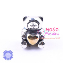 Authentic 925 Sterling  It's A Boy Teddy Bear, Gold Heart Charm Fit Original Bracelets Jewelry DIY Accessories HSSJ-422