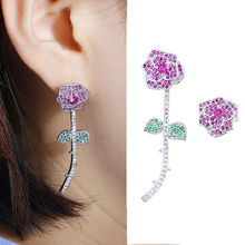New Red Rose Flower Earrings Unique Design Statement Stud Earings For Elegant Women Fashion Jewelry High Quality Earings AE293
