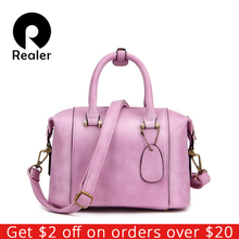New Realer Brand High Quality Designer Women Boston Bag Imitation Leather Bag Women Crossbody Bag Black Ladies Tote(China)
