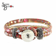 New Arrived chocolate PU leather Bracelet Flower daisy& leaf printed Style Snap Button Bracelet Interchangeable Jewelry SJSB1695(China)
