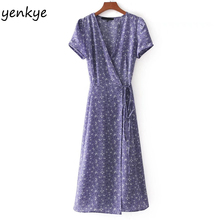 Buy 2018 Women Lavender Floral Summer Dresses Sexy Cross V Neck Short Sleeve Tie Waist A-line Wrap Midi Dress vestidos verano for $13.65 in AliExpress store