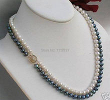 Charming 2 rows 7-8mm Black & White Freshwater Cultured Shell Pearl Necklace Beads Jewelry Natural Stone BV348 Wholesale Price