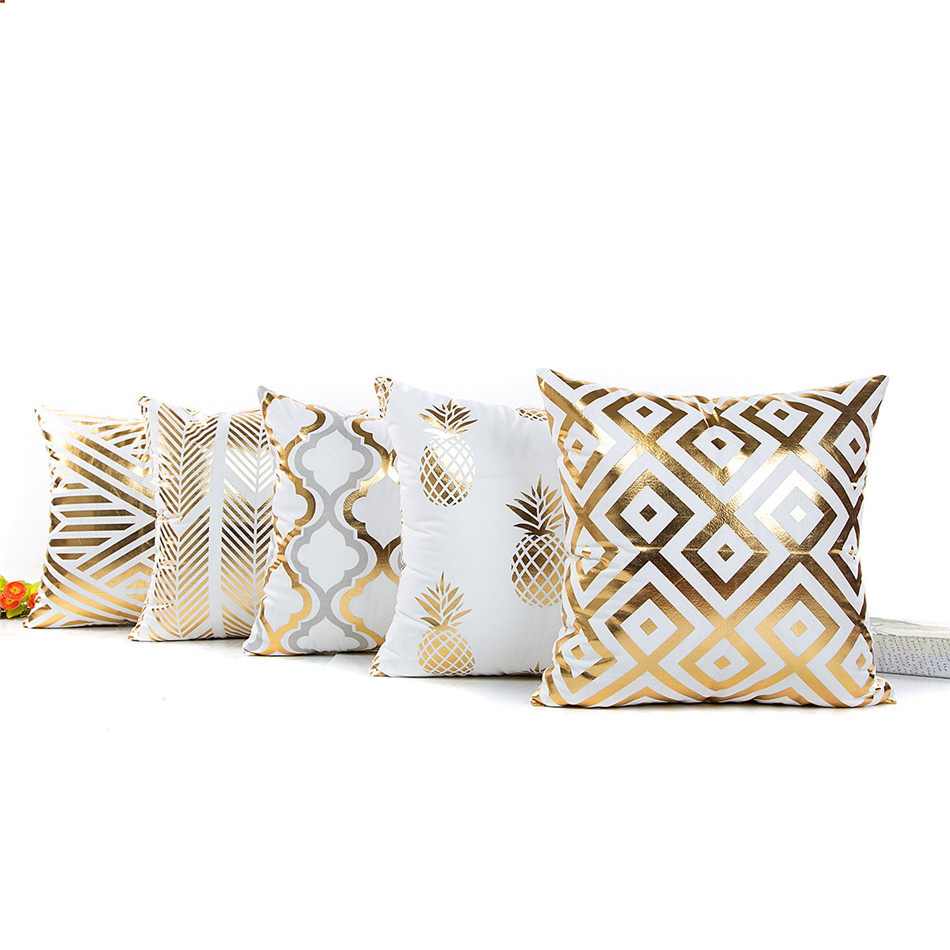 Bronzing Cushion Cover Geometry Pineapple Printed Pillow Case Cover Luxury Sequin Gold Bedroom Home Sofa Decorative Pillowcase (9)
