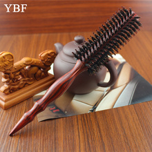 YBF New Natural Pig Mane brown boar Bristles Wooden Comb long handled hair brushes barber supply as seen tv products