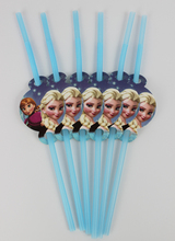 Disney Frozen Movie 24pcs/lot Party Straws Supplies Kids Girls Boys Birthday Party Drink Straws Decorations Frozen Party Supply