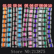 Fashion,1yard, 3row,Colorful rectangle resin +Clear glass Crystal rhinestone chain compact Silver chain trim Wedding Applique,2(China)
