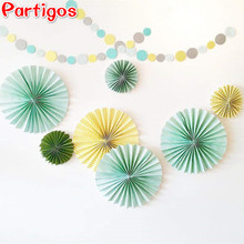 3pcs/set Flower Paper Fan Tissue Crafts Decor Wedding Birthday Party Home Supplies Window Hanging Decorations(China)