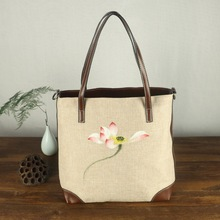 Chinese Painting Series Women Linen Canvas Tote Bag Hand Painted Leather Top-handle Ladies Shoppers Handbag Big Shoulder Bags(China)