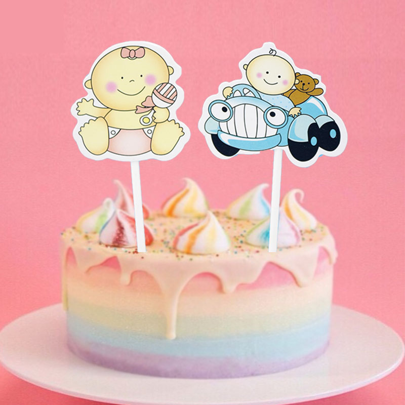 1set Happy Birthday Cupcake Toppers Cake Topper Cake Flags Baby Shower Baby Car Birthday Party Decor Children Kids Party Diy