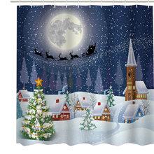 180x180cm Christmas Shower Curtains Bathroom Xmas Santa Claus Tree Snowflakes New Year Gift