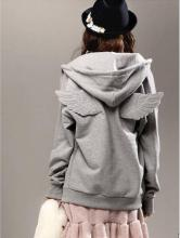 2016 New Autumn Tracksuit Women Cute 3D Angle Wings Hoodies Hooded Causal Full sleeve Fleece Cadigan Plus size M-XL Black Gray