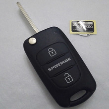 New Keyless Entry Uncut Blank Folding Flip Remote Fob Key Case Cover Shell for Kia Sportage 3 Button