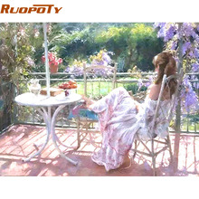 RUOPOTY Figure Painting Beautiful Women DIY Painting By Numbers Kits Handpainted Oil Painting On Canvas For Home Wall Decor(China)