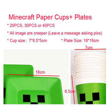 Free Shipping 30PCS 18*18cm Creeper Plates Minecraft Party Creeper Bag for Kid Birthday Party Christmas Halloween Party Supplies