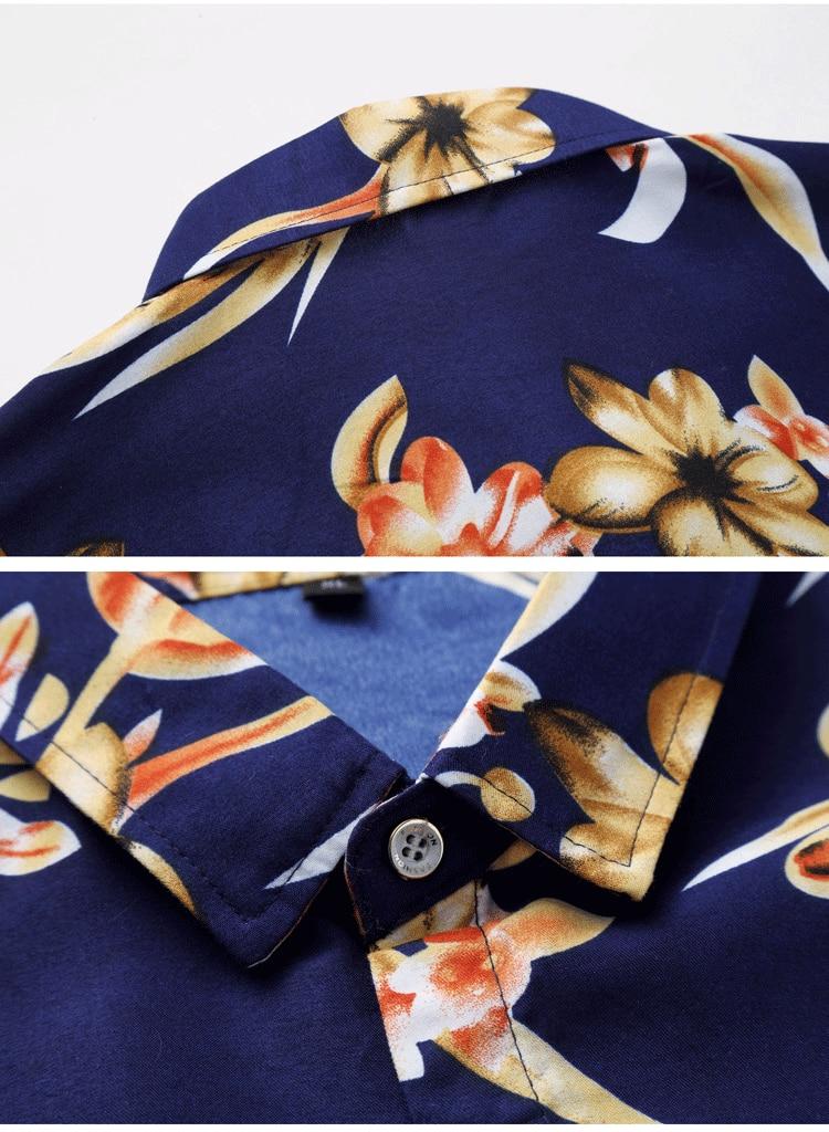 2018 Short Sleeve Mens Hawaiian Shirt Male Casual Camisa Masculina Flower Print Beach Summer Shirts Brand Clothing Men Plue Size 22