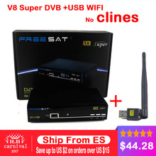 Receiver Freesat V8 Super 1080P Full DVB-S2 Satellite Receiver Decoder +1PC USB WIFI Supported Full powervu cline bisskey IPTV(China)