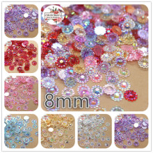 8mm 500pcs mix color flower transparent AB Acrylic rhinestones stone Facets cabochon rhinestones decoration DIY craft(China)
