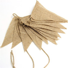 Natural Burlap Pennant Banner Natural color Jute Bunting Flags for Party Decoration Event Party Supplies