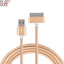 Olaf Original 1m 30 Pin USB Metal Nylon Braided Sync Data Charging Charger USB Cable for iphone 4 4s iPad 2 3 iPod