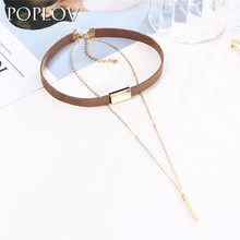 POPLOV Black Brown Velvet Leather Choker Necklace Gothic Gold&Silver Color Chain Alloy Pendant Jewelry Women Punk Collar Chocker