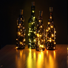 75CM 1M 2M Cork Shaped Wine Bottle LED Copper Wire Starry String Light Halloween Christmas Holiday Party Indoor Decoration Light(China)