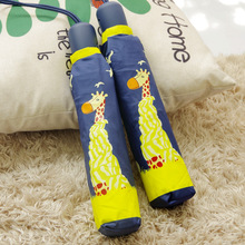 Original cute giraffe 3-folding automatic umbrella rain women, plegable paraguas mujer novelty items good choice for gift