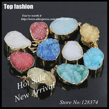 E-012 Natural Red White Blue Yellow Green Crystal Quartz Stone Pendant Accessories ,Necklaces Bracelets Made slice Druzy Pendant