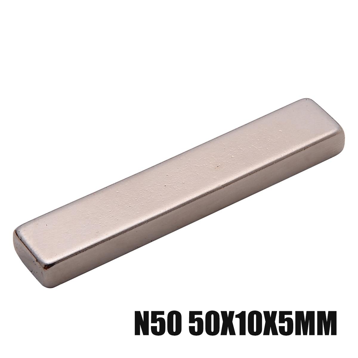 DIY 50x10x5mm Super Strong Rare Earth Neodymium Long Bar Block Motor Magnet Kit