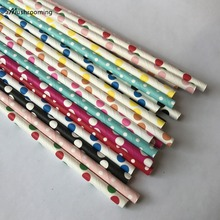 100 x Rainbow Colors Polka Dot Paper Straws First Birthday Baby Shower Party Supplies Paper Drinking Straws Cake Pop Stick(China)
