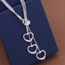 Fashion Elegant Ladies Necklace 925 Hollow Heart Pendant Long Necklace Mulit Chain Silver Plated Jewelry Loving Gift AN445