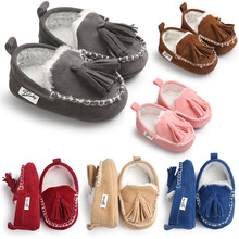ROMIRUS 2016 Winter Tassel Baby Moccasin Soft Bottom Infant Moccasin-gommino Newborn Babies Shoes PU Leather Prewalkers Boots