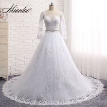 Miaoduo Vestido de noiva Long Sleeves Wedding Dresses Sheer Tulle Back Lace Appliques Wedding Gowns Bead Wedding Dress 2017(China)