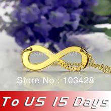 Personalized Gold Color Name One Direction Style Infinity Necklace Silver Infinity Symbol Nameplate Pendant Letters Necklace(China)