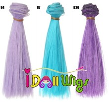 15*100cm 10pcs/lot Pure Color Straight Doll Hair Extension Soft Hair Weft for BJD/SD/Bly the/American Girl Doll