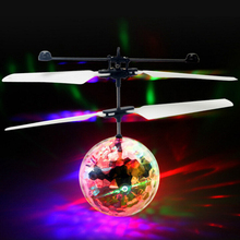 Flying RC Ball Aircraft Helicopter Led Flashing Light Up Toy Induction Toy Electric Toy Drone For Kids Children(China)