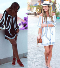Summer New Women Casual Loose Slash Neck Off The Shoulder Digital Printing Bohemian Beach White Mixed Black Dresses