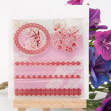 rose and lace flowers for diy scrapbooking photo album clear stamp wedding gifr paper card craft christmas gift RM-210