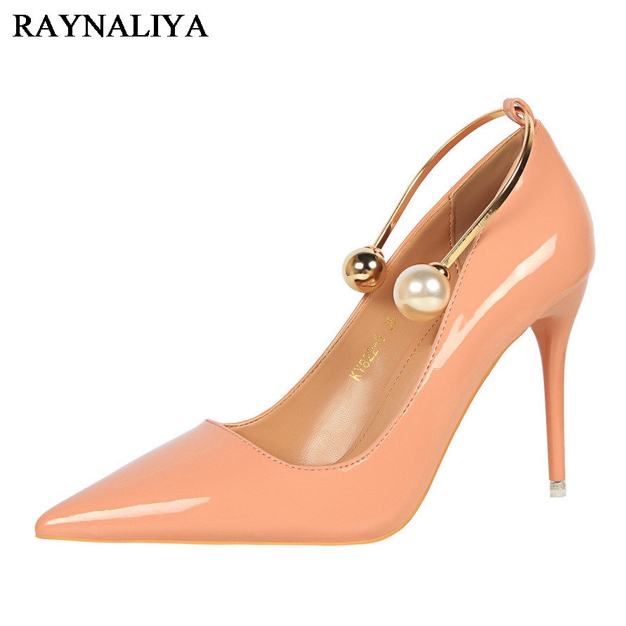Spring Autumn Woman High Heels Pumps Red Black Patent Leather Pointed Toe Party Wedding Shoes Metal Beading Pumps Shoes DS-A0123<br>