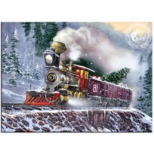 DIY 5D Diamond Painting Cross Stitch Diamond Embroidery Holiday Express Train Pictures of Rhinestones Wall Stickers Home Decor(China)