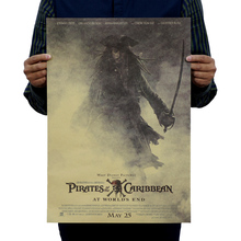 Pirates of the Caribbean Classic Movie Poster Retro Nostalgia Advertising Posters Bar Decorative Painting 51x35.5cm