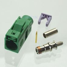 Hot Factory Direct Wholesale 1pce Connector Fakra E 6002 Green SMB female jack crimp RG174 RG316 LMR100 cable
