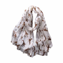 2017 Hot Sale Women Ladies Giraffe Print Pattern Long Scarf Warm Wrap Shawl Scarves Women Wrap Lady Shawl  Soft Thin Chiffon