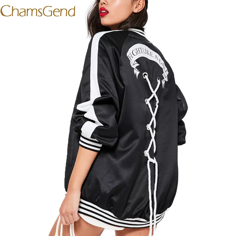 Chamsgend Newly FIGHT LIKE A GIRL Crisscross Lace up Baseball Jacket Coat Women Girls Hip Hop Dance Striped Streetwear 70918(China)