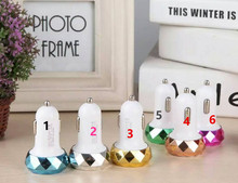 100pcs Metal diamonds USB Car Charger 2.1A 1A for Cellphone Tablet iphone 5s 6 7 Samsung HTC LG Sony Frosted Charger Adapter