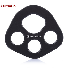 XINDA Aluminum Magnesium Alloy High Strength Rigging Plate with Four Holes Design for Outdoors Climbing Rocking (Full black)