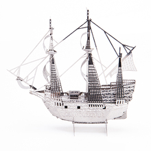 Mini DIY 3D Metal Puzzle Nano Ship Model  Intelligence Toys Mayflower Ship Adult Jigsaw Model Decoration Collection Gift