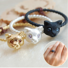 free shipping 20 pieces/lot  fashion jewelry accessories cute kitty cat head  finger rings for women