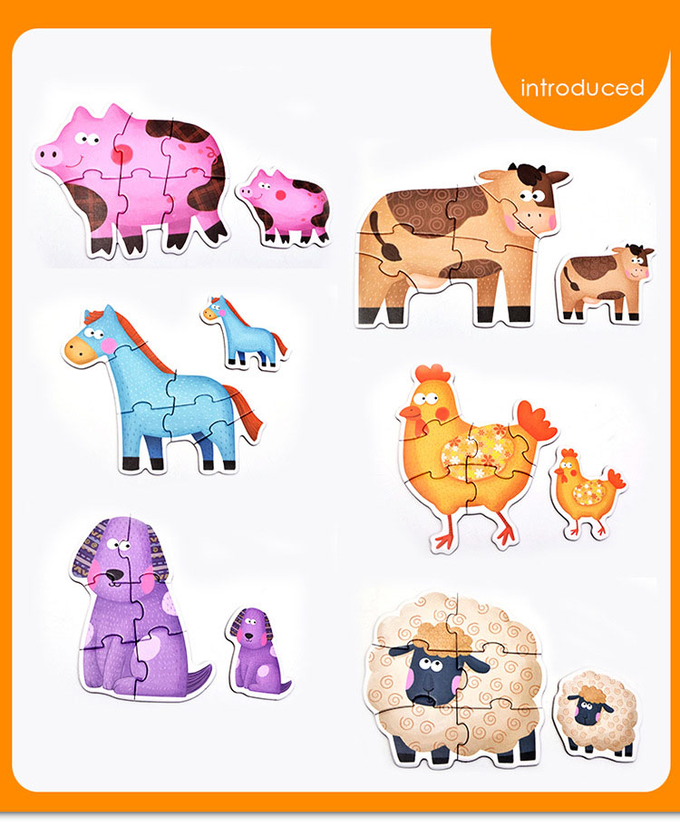 Baby Toys Cartoon Animal Paper Children Puzzle Children early learning Montessori education toys Puzzle for children 3 years 4